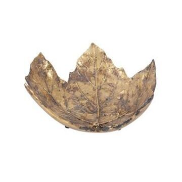 Howard Elliott Antique Gold Maple Leaf Tray- Small