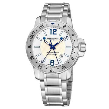 Raymond Weil Men's 3800-ST-05657 'Nabucco' White Dial Stainless Steel GMT Automatic Watch
