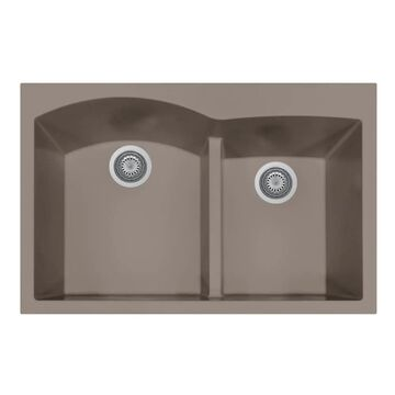 HOUZER Quartztone Dual-mount 22-in x 33-in Taupe Double Offset Bowl Kitchen Sink in Brown | P-175 TAUPE