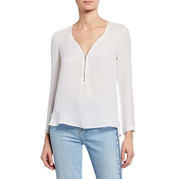 Silk Zip-Front Long-Sleeve Top