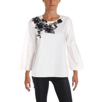 Kobi Halperin Womens Melaine Cotton Applique Blouse