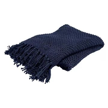 Rizzy Home Linda Knit Throw, Blue