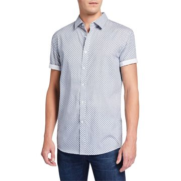 Men's Geometric Short-Sleeve Cotton Sport Shirt