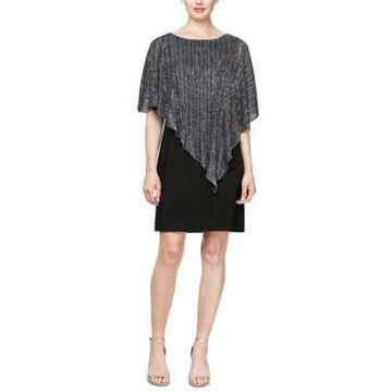 Sl Fashions Pleated Metallic Overlay Shift Dress