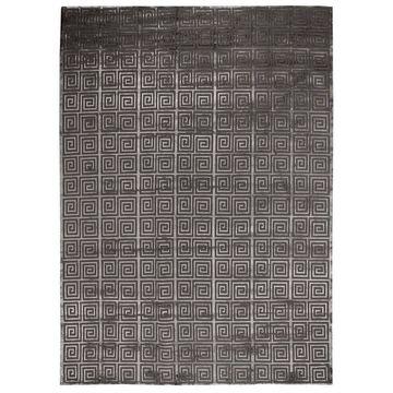 Exquisite Rugs Greek Key Dark Grey New Zealand Wool/Viscose from Bamboo Silk Rug