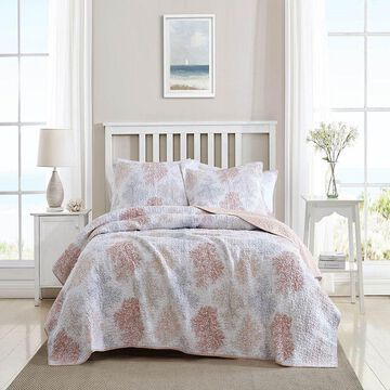 Laura Ashley Saltwater Quilt Set with Shams, Red, Full/Queen