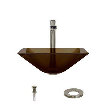 MR Direct Taupe Tempered Glass Vessel Square Bathroom Sink with Faucet (Drain Included)