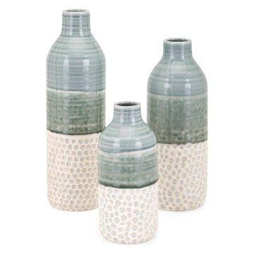 IMAX Home 10967-3 Dahlia Three Piece Handcrafted Ceramic Vase Set