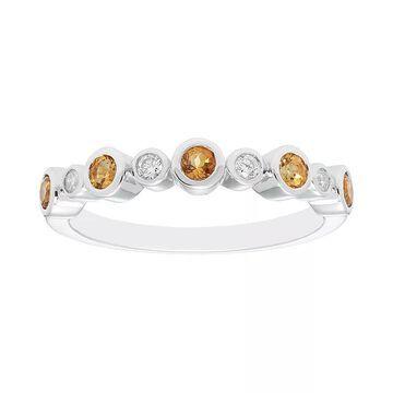 Boston Bay Diamonds Sterling Silver Gemstone & Diamond Accent Ring, Women's, Size: 7, Yellow