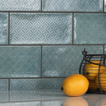 SomerTile Camden Decor Emerald 4x8-inch Ceramic Wall Tile - CASE