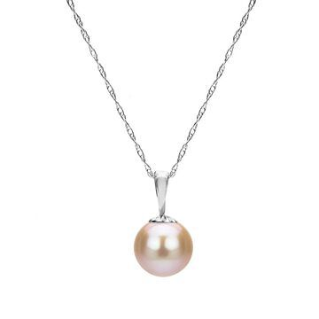 DaVonna 14k White Gold Pink Round Freshwater Pearl Necklace Chain Pendant 18