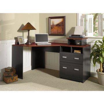 Bush Furniture Wheaton Reversible Corner Desk with File Drawers, Multiple Colors