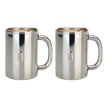 BergHOFF Straight 18/10 SS Coffee Mug, Set of 2, 12oz Stainless Steel
