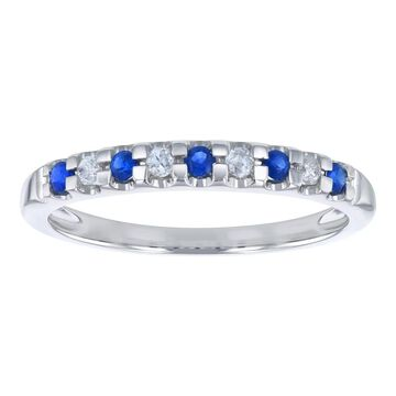 10K White Gold 1/5ct. Blue Sapphire and Diamonds Ladies Semi Eternity Band Ring by Beverly Hills Charm