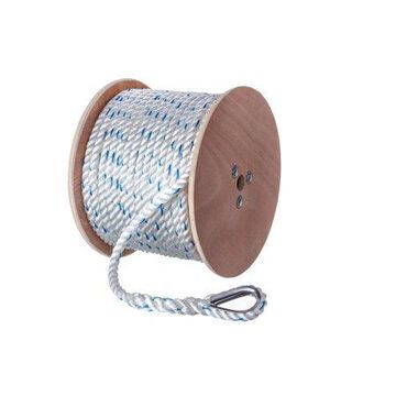 Seachoice 47931 Premium Anchor Rope for Boating - 3-Strand Twisted Nylon Anchor Line, -Inch x 250 Feet, White/Blue