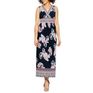 Studio 1 Sleeveless Puff Print Maxi Dress