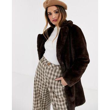 New Look faux fur coat in chocolate-Brown