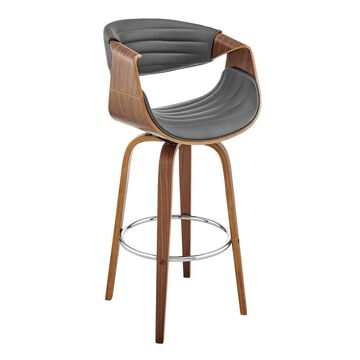"""26"""" Arya Swivel Counter Height Barstool with Gray Faux Leather Walnut Finish Frame - Armen Living"""