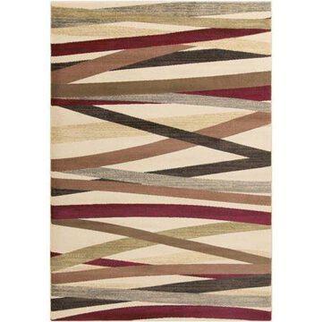 "Art of Knot Sirene Beige 7'10"" x 10'10"" Modern Striped Area Rug"
