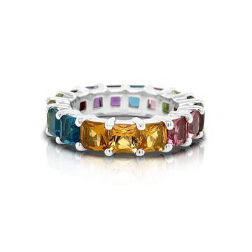 Noray Designs 14K Gold Rainbow Multicolor Gemstone (4MM) Eternity Ring