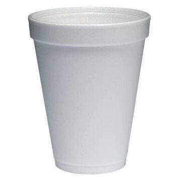 DART 12J12 Disposable Cold/Hot Cup 12 oz. White, Foam, Pk1000