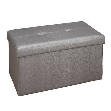 Simplify Faux Leather Double Folding Storage Ottoman, Grey