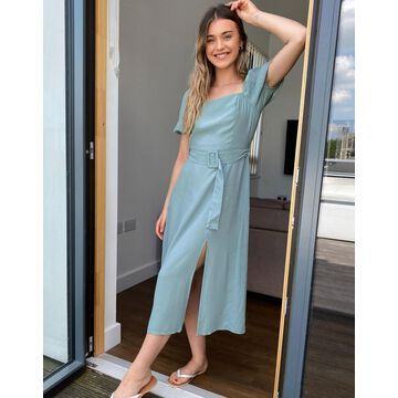 New Look square neck belted midi dress in sage-Green