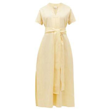 Lisa Marie Fernandez - Rosetta V-neck Belted Linen Maxi Dress - Womens - Yellow