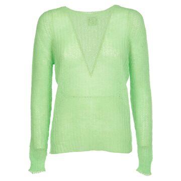 Pink Memories Green Mohair Sweater