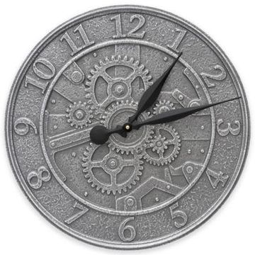 Whitehall Products 16-Inch Gear Indoor/Outdoor Wall Clock in Pewter Silver