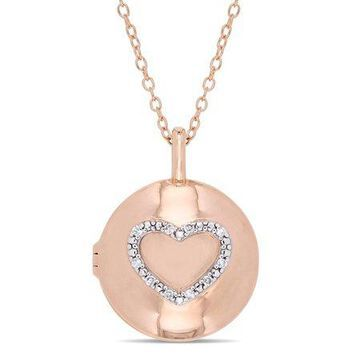 Diamond-Accent Rose Plated Sterling Silver Heart Locket Pendant