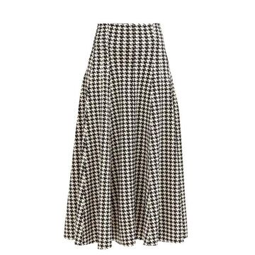 Norma Kamali - Grace Houndstooth-print Flared Jersey Skirt - Womens - Black/white