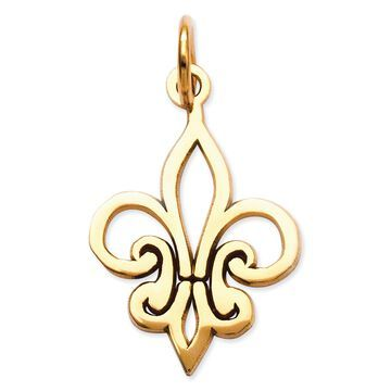 Versil 14 Karat Yellow Gold Fleur De Lis Charm Necklace, by Versil with 18-inch chain