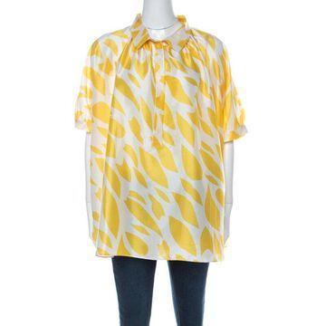 Missoni Yellow White Printed Silk Collared Short Sleeve Oversized Blouse S