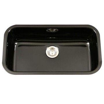Houzer PCG-3600 BL Porcela Series Porcelain Enamel Steel Undermount Large Single Bowl Kitchen Sink, Black