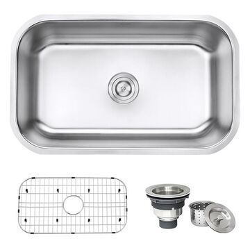 Ruvati Parmi Undermount 30-in x 18125-in Brushed Stainless Steel Single Bowl Kitchen Sink