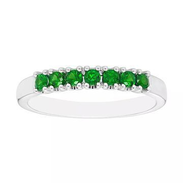 Boston Bay Diamonds Sterling Silver Lab-Created Emerald Stack Ring, Women's, Size: 6, Green