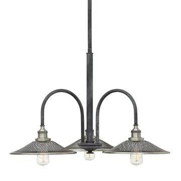 Hinkley Lighting 4363 Rigby 3 Light Chandelier with Mesh Shades Aged Zinc Indoor Lighting Chandeliers