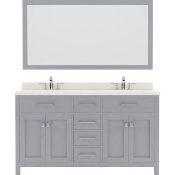 Virtu USA Caroline 60-in Double Bath Vanity in Grey with Dazzle White Top and Round Sink with Polished Chrome Faucet and Mirror in Gray