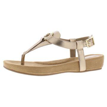 Giani Bernini Womens Raisaa Faux Leather Wedge Thong Sandals