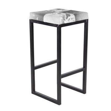 Decmode Traditional Iron and Leather Hide Square Bar Stool, Walnut Brown