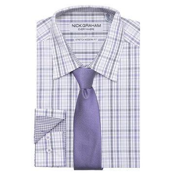 Men's Nick Graham Everywhere Modern-Fit Stretch Dress Shirt & Tie Set, Size: Small 34/35, Purple