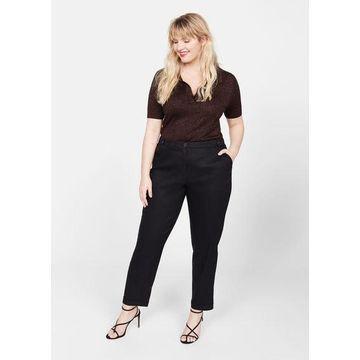 Violeta BY MANGO - Straight linen-blend trousers black - 22 - Plus sizes