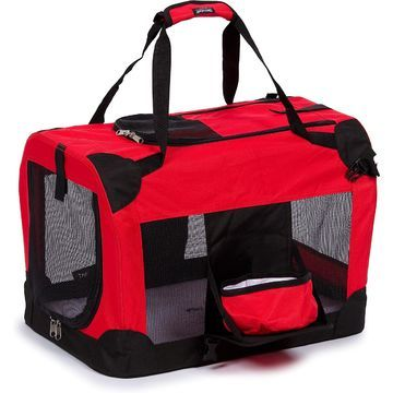 Pet Life Folding Deluxe 360 Degree Vista View House Pet Crate in Red, 36