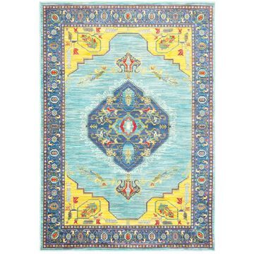 Style Haven Blue/Yellow Polypropylene Old World-inspired Medallion Area Rug (6'7 x 9'6) - 6'7