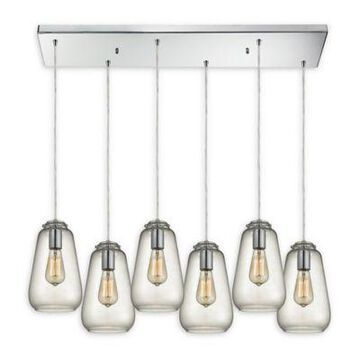 Elk Lighting Orbital Group 6-Light Pendant In Chrome With Clear Glass Shades Polished Chrome