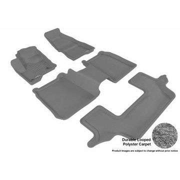 3D MAXpider 2009-2016 Ford Flex Front, Second, & Third Row Set All Weather Floor Liners in Gray Carpet