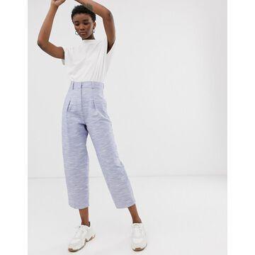 ASOS WHITE textured cotton wide leg pants-Blue