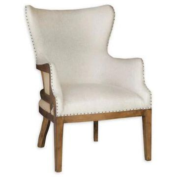 Pulaski Upholstered Wing Arm Chair In Off-White Off White
