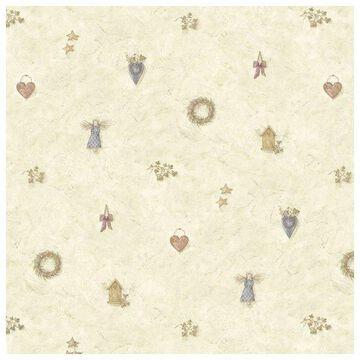 Brewster FFR21711 Neutral Wreath Spot Wallpaper